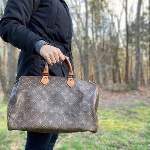 Louis Vuitton monogram speedy 35 satchel bag